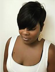 Недорогие -Классика Прямой силуэт Машинное плетение Натуральные волосы парики Парик в афро-американском стиле Высокое качество Повседневные Черный