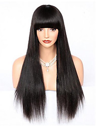 cheap -Premier Brazilian Human Hair Lace Wigs Yaki Straight Glueless Lace Front Full Lace Wig With Bang For Women