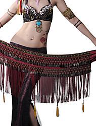 Danza del ventre Cintura per danza del ventre Per donna Esibizione Poliestere Metallo Perline 1 pezzo Cintura