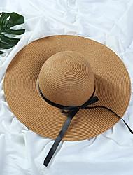 Недорогие -Жен. Шапки Соломенная шляпа Шляпа от солнца - Чистый цвет Однотонный