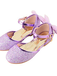 Girls' Flats Comfort Novelty Flower Girl Shoes Fall Winter Leatherette Casual Dress Sequin Buckle Flat Heel Gold Purple Blushing Pink Flat