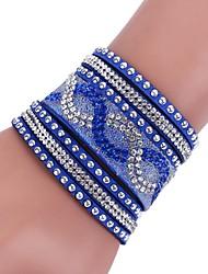 cheap -Women's Wrap Bracelet Leather Bracelet - Leather Classic, Simple Style Bracelet Green / Pink / Light Blue For Wedding Party Casual