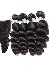 cheap -Brazilian Hair Loose Wave Natural Color Hair Weaves 4 Bundles With Closure 8-26inch Human Hair Weaves Natural Black