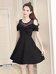 cheap -Women's Daily Skater Dress,Solid Round Neck Above Knee Short Sleeves Cotton Summer High Rise Inelastic Thin