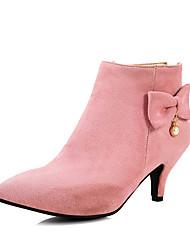 Women's Boots Fashion Boots Winter Leatherette Casual Dress Party & Evening Bowknot Imitation Pearl Zipper Kitten Heel Black Beige