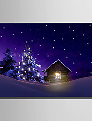 cheap -E-HOME® Stretched LED Canvas Print Art House On Christmas Eve LED Flashing Optical Fiber Print One Pcs