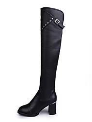cheap -Women's Boots Comfort Winter PU Casual Rivet Chunky Heel Black 2in-2 3/4in