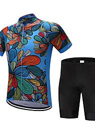 abordables -FUALRNY® Homme Manches Courtes Maillot et Cuissard de Cyclisme - Bleu de minuit / Rouge Vélo Ensemble de Vêtements, Séchage rapide, Anti-transpiration Polyester, Coolmax®, Silicone Floral / Botanique