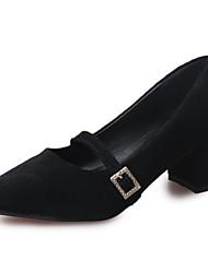 Damen High Heels Walking T-Riemen Komfort PU Sommer Normal Niedriger Absatz Schwarz Grau Grün 5 - 7 cm