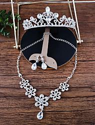 Women's Necklace Front Back Earrings Rhinestone Fashion Rhinestone Alloy Flower For Wedding Wedding Gifts