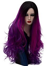 Недорогие -Парики из искусственных волос Естественные волны Стиль Без шапочки-основы Парик Темно-лиловый: Искусственные волосы Жен. Волосы с окрашиванием омбре Фиолетовый Парик Длинные