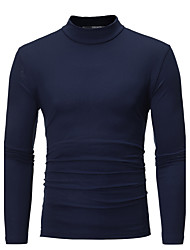 Men's Going out Casual/Daily Vintage Simple Fall Winter T-shirt,Solid Halter Long Sleeves Cotton Rayon Spandex Medium