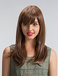 Parrucche sintetiche Senza tappo Lungo Lisci Dark Brown / Media Auburn Parrucca naturale costumi parrucche