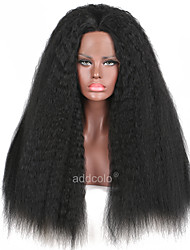 Synthetic Lace Front Wigs Kinky Straight Black Color Synthetic Wig Kinky Straight Hair Wig