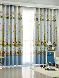 Rod Pocket Grommet Top Tab Top Double Pleat Pencil Pleat Curtain European , Print Cartoon Bedroom Material Blackout Curtains Drapes Home