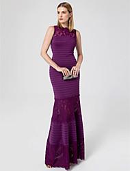 Trompeta / Sirena Escote de ilusión Hasta el Suelo Encaje Jersey Evento Formal Vestido con Encaje Fruncido por TS Couture®