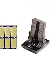 2pcs 2w weißes dc12v t10 6led 5630smd geführtes Selbstlampen-Autoinstrumentlicht dekoratives Lampen-Leselicht-Kfz-Kennzeichen-helle