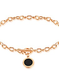 The quality round cake electroplated rose gold chain bracelet female friend jewelry