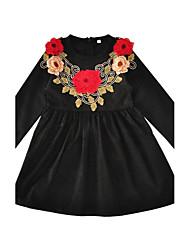 abordables -Robe Fille de Fleur Coton Printemps Automne Manches Longues Fleur Noir