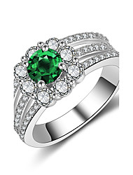 economico -Per donna Fedine Smeraldo sintetico Zirconi Di tendenza Vintage Elegant Argento Rotondo Gioielli Per Matrimonio Fidanzamento Cerimonia