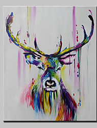 cheap -Lager Handpainted Deer Animal Oil Painting On Canvas Wall Art For Living Room Home Decor Wall Paintings Whit Frame