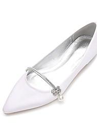 cheap -Women's Shoes Satin Spring Summer Comfort Ballerina Wedding Shoes Flat Heel Pointed Toe Rhinestone Pearl Imitation Pearl Gore for Wedding
