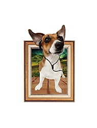 cheap -3D Wall Stickers Wall Decas Style Cartoon Dog Listens Music PVC Wall Stickers