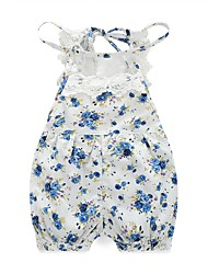 cheap -Baby Girls' Floral Print Lace One-Pieces,100%Cotton Spring Summer Floral Sleeveless Blue