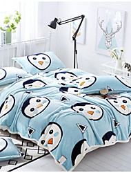 Coral fleece Animals Polyester Cotton Blend Blankets