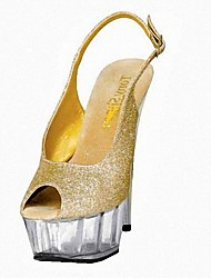 cheap -Women's Sandals Formal Shoes Summer Sparkling Glitter Dress Party & Evening Sparkling Glitter Buckle Stiletto Heel Gold Silver 5in & over
