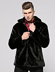 Men's Party Plus Size Casual/Daily Work Club Simple Vintage Fall Winter Fur Coat,Solid Peaked Lapel Long Sleeve Regular Faux Fur Cotton