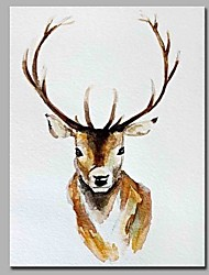 Peint à la main Animal Format Vertical,Artistique Abstrait Inspiré de la nature Cool Moderne/Contemporain Bureau / Affaires Noël Nouvel An