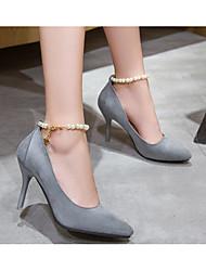 Damen High Heels Pumps Echtes Leder PU Frühling Sommer Normal Schwarz Grau Rosa 10 - 12 cm