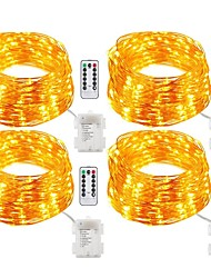 4 Pack Fairy Lights Fairy String Lights Battery Operated Waterproof 8 Modes 200LED 20M String Lights Copper Wire Firefly Lights Remote Control