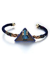 cheap -Lureme New Design Jewelry Handmade PU Leather Triangle with Beads Weave Cuff Bangle