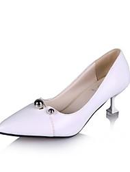 abordables -Femme Chaussures Polyuréthane Eté Confort Chaussures à Talons Marche Talon Aiguille Bout pointu Blanc / Noir / Argent