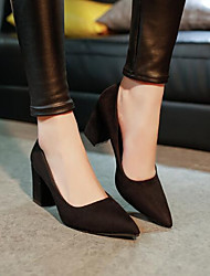 cheap -Women's Shoes Leather PU Winter Spring Comfort Basic Pump Heels for Casual Black Red Pink