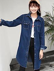 Women's Casual/Daily Street chic Spring Denim Jacket,Solid Shirt Collar ¾ Sleeve Regular Cotton