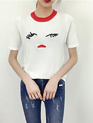 Corto Cashmere Da donna-Casual Con stampe Rotonda Manica corta Cotone Estate Medio spessore Media elasticità