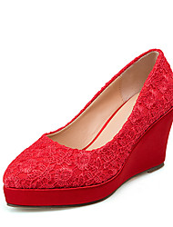 Women's Heels Formal Shoes Summer Fall Leatherette Wedding Dress Party & Evening Stitching Lace Wedge Heel Ruby 3in-3 3/4in