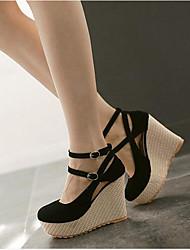 Women's Heels Comfort Spring Fall PU Casual Black Beige Light Pink 2in-2 3/4in