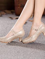 Scarpe da ballo - Non personalizzabile - Donna - Moderno - Tacco cubano - Pelle - Argento / Oro
