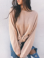 Women's Holiday Going out Casual/Daily Sexy Simple Street chic Loose Knit Lace Up Regular PulloverSolid Round Neck Long SleeveSpring Fall Medium