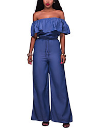 cheap -Women's High Rise Going out Club Holiday JumpsuitsCasual Vintage Sexy Wide Leg Backless Ruffle Denim Off Shoulder Classic Solid Spring Summer