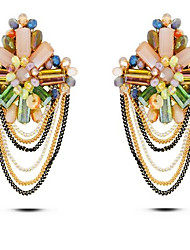 Недорогие -Жен. Серьги-гвоздики - Цветы кисточка, Богемные, Крупногабаритные Света кофе Назначение Подарок Для сцены Праздники
