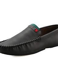 baratos -Homens sapatos Couro Ecológico Primavera Verão Solados com Luzes Conforto Sapatos de Barco Caminhada para Casual Cinzento Marron Khaki