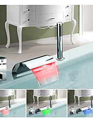 Changement de couleur Européen Diffusion large Jet pluie Multi-teintes with  Soupape céramique Mitigeur Trois trous for  Chrome , Robinet