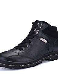 cheap -Men's Shoes Cowhide Nappa Leather Leather Winter Bootie Snow Boots Comfort Boots Booties/Ankle Boots Lace-up for Casual Office & Career