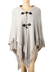 Women Vintage Cloak Cape Bohemian Tassels Fringed Shawl Wrap Scarf Wool Acrylic Rectangle Solid Spring Fall Black/Light Grey/Red/Khaki