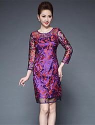levne -Dámské Pouzdro Šaty - Jednobarevné / Výšivka, Tisk Délka ke kolenům